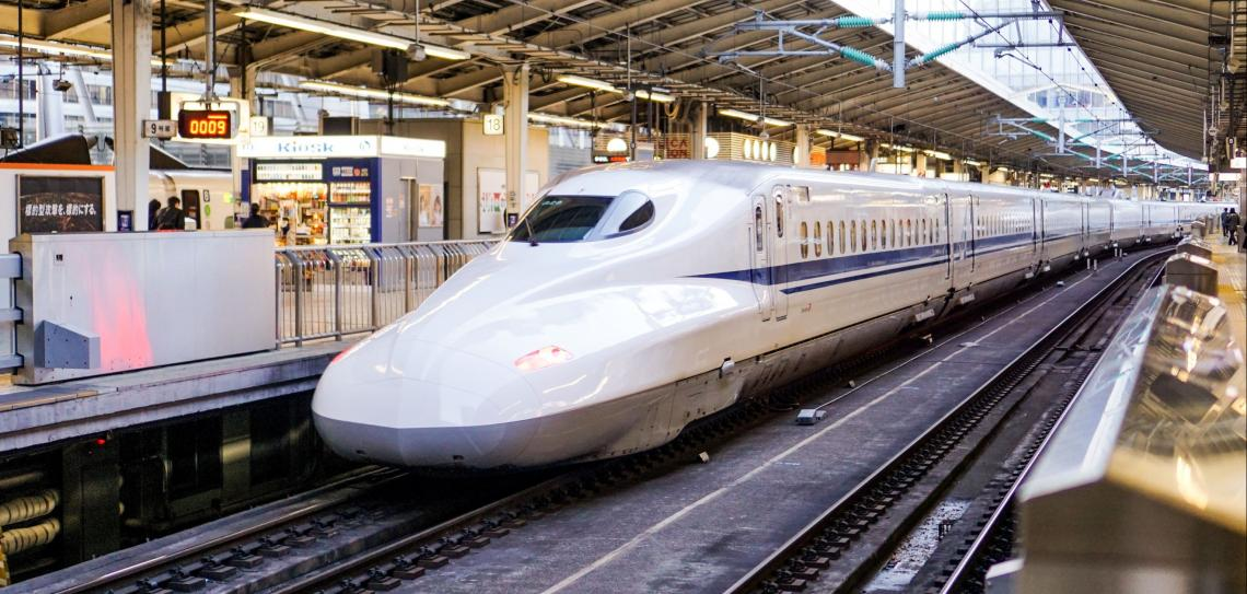 Bullet train in station